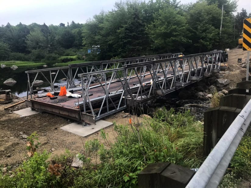 Wide view of Bailey Bridge rental detour bridge installation